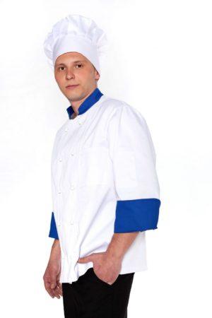 Китель повара, мужской с синей отделкой