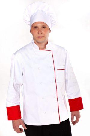Китель повара, мужской с красным кантом