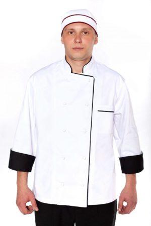 Китель повара, мужской с черной отделкой МВО