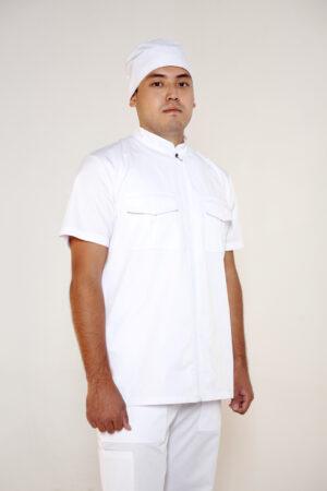 Рубашка мужская с центральной застежкой на молнию и  коротким рукавом